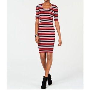 Bar III Striped Metallic Sweater Dress Half Sleeve